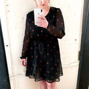 NWT ichi black dress w/sheer over lay + polka dots